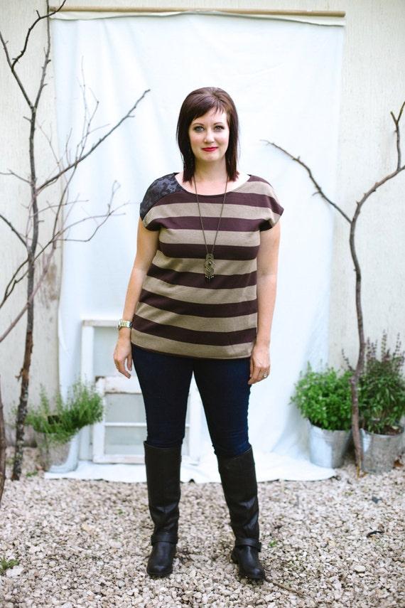 Striped Tee - Brown