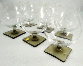 Georg Jensen for Rosenthal Linear Smoke Crystal Brandy Glasses, Mid Century Modern