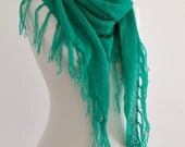Fringe Scarf Super Soft Cozy Warm Cowl Triangle Shawl Emerald Green Gift for Her Christmas Gift Idea