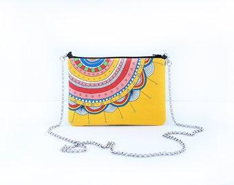 Clutch bag colorful yellow printed design pouch multicolor mini handbag small bag flower clutch bag design small bag cotton canvas chain bag