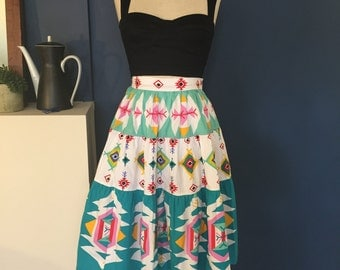50s Style Southwestern Print Tiered Full Skirt