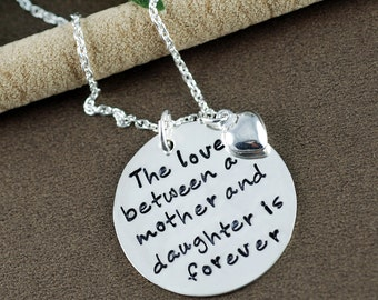 Mother & Daughter Jewelry, Hand Stamped Necklace , Personalized Mommy Jewelry, Mother Necklace, Gift for Mom, Mother's Day Gift