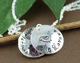 Personalized Mama Bird Locket Necklace | Personalized Necklace | Locket Necklace for Mom | Locket Jewelry | Name Necklace | bird on branch