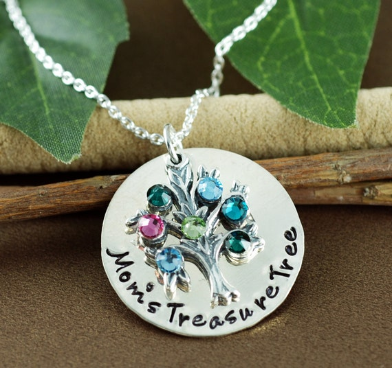 Personalized Family Tree Necklace, Hand Stamped Tree of Life Necklace, Family Tree Jewelry, Birthstone Necklace, Gift for Mom