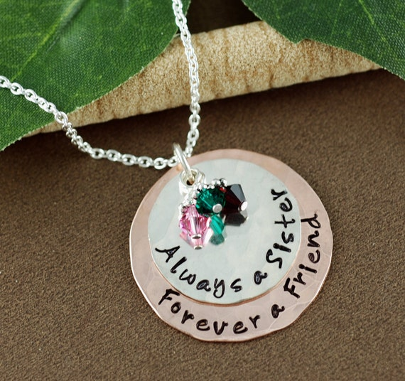 Always a Sister Forever a Friend Necklace, Hand Stamped Necklace, Personalized Jewelry, Sisters Necklace, Gift for Sister, GIft for Friend