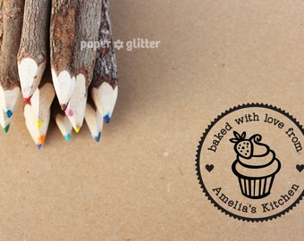 Personalized Rubber Stamp Strawberry Cupcake Swirl Round Circle Make Your Own Cute Text (Wood Engraved or Self Inked) 0097