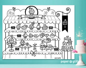 Bakery Baking Party Printable Decoration or Coloring Sheet Backdrop Wall Art Decor Poster  3 x 4 feet - Editable Text Printable PDF