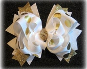Gold Hair Bow, Gold Hairbow, Boutique Hair Bow, Gold Glitter Bow, Gold Foiled Bow, White and Gold Bow, Girls Hair Bows, Boutique Hairbows