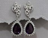 Sterling Silver and Amethyst Purple Cubic Zirconia Teardrop Bridal Earrings, Wedding Earrings, CZ Earrings Crystal Earrings Purple Earrings