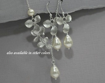Personalized Bridesmaid Gift Jewelry Set, Orchid Jewelry Orchid and Ivory Pearl Bridesmaid Jewelry Set, Swarovski Bridal Party Jewelry