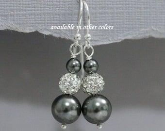 Charcoal Grey Bridesmaid Earrings, Charcoal Earrings, Dark Gray Pearl Earrings, Swarovski Dark Grey Pearl Earrings, Bridesmaid Jewelry