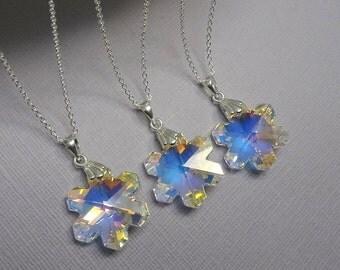 Snowflake Crystal Necklace, Swarovski Snowflake Necklace, Snowflake Necklace, Sterling Silver Necklace, Winter Wedding Bridesmaid Necklace