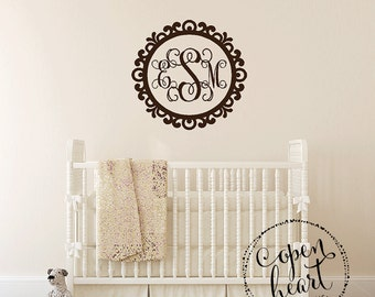 Monogram Wall Decal - Vinyl Decal Three Initial Monogram in Scallop Scroll Border Frame - Ornate Frame Girls Nursery Bedroom Decal FN0615