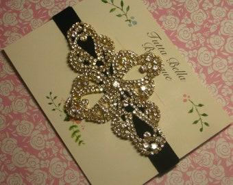 Gold Jeweled Headband, Gold Rhinestone Headband, Black Velvet Headband, Flower Girl Headband, Gold Headband Bridesmaid Headband Wedding Prom