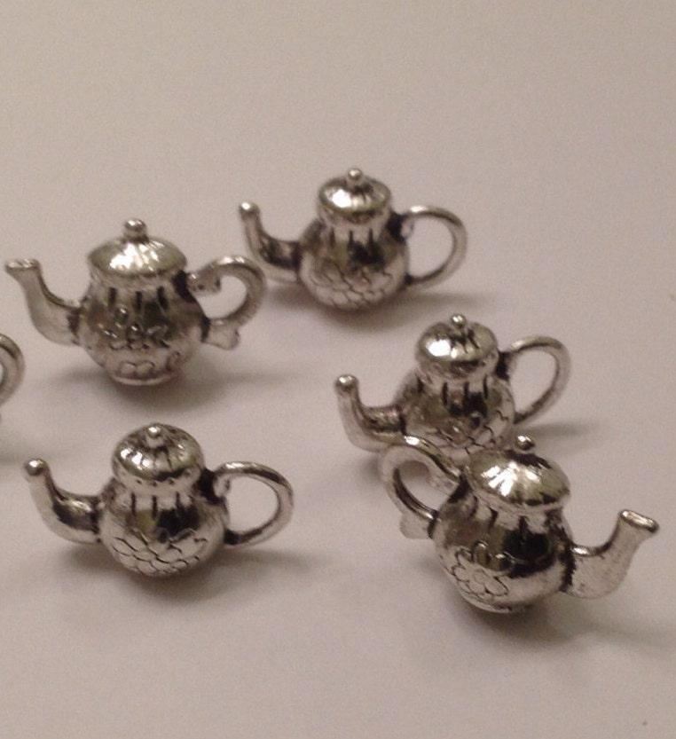 teapot charms silver metal tiny teapot charms scrap booking