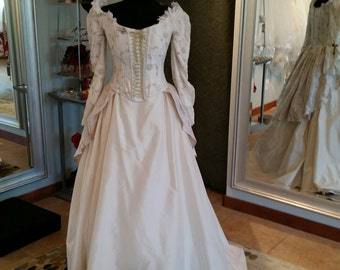 Victorian Steampunk Wedding Gown with Long Sleeves in Ivory Gold Size 10