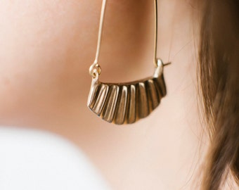 Lines Earring - Sterling Silver or Bronze and Gold fill Sun rays ocean waves