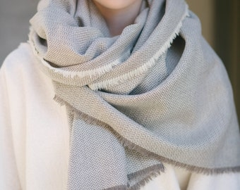 Wool Blanket Scarf, Oversized Scarf, Herringbone Blanket Scarf, Wool Oversized Scarf, Wool Wrap, Herringbone Wrap, Chunky Scarf, Ivory Scarf