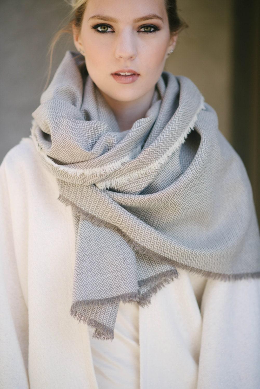 oversized wool blanket scarf herringbone large wool shawl