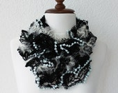 Black Lace Ruffle Shades Funky Scarf