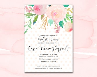 Bridal Shower Invitation Printable, Blush Watercolor Floral Polka Dot Bridal Shower Invitation, Printable Bridal Shower Invite, Pink Gold