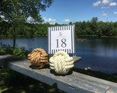 Nautical Wedding - 15-19 Nautical Rope Table Number Holders (3 turns) - Smaller Knots