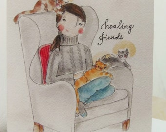 Healing friends - A5 blank greeting card - cats - cat lovers - free shipping