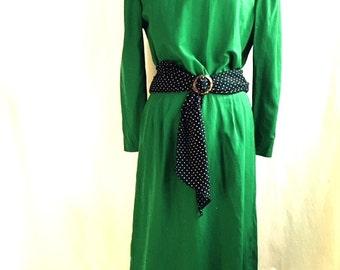 Vintage 80s SHAMROCK GREEN Dress
