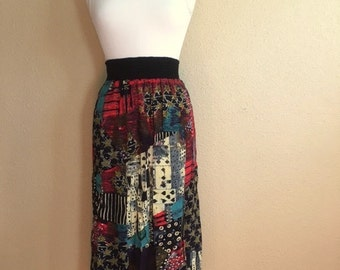 Vintage 80s MULTICOLOR ABSTRACT Long Skirt / Carol Little / Womens Small to Large / Gypsy Skirt