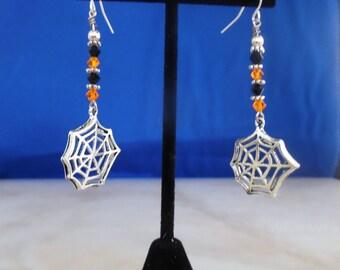 Spider Web Earrings, Swarovski Crystal Earrings, Orange and Black Earrings, Gothic Earrings, OOAK Earrings, Wicca Earrings,