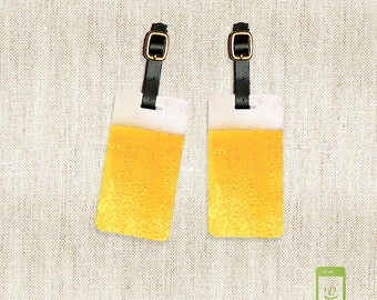 Personalized Luggage Tags Glass of Beer Luggage Tags - Full Metal Tags Luggage Tag Set Personalized