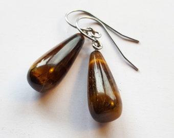 Caramel Swirl Tiger Eye Gemstone Earrings