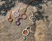 small dream catchers : necklaces, to hang from car mirror, or key ring fobs, handmade in Washington state