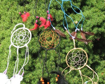 Native American art - dream catchers - handmade with suede and feathers to catch the monsters in bad dreams and nightmares