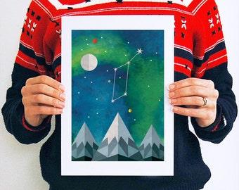Lyra, Constellation, Print, Art, Astronomy, Astrology, Gifts, Northern Lights, Aurora, Night Sky, Stars, Celestial, Map, Geometric, A4, A3
