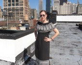Vintage 1970s Boho Mexican Embroidered Black and White Maxi Dress M/L