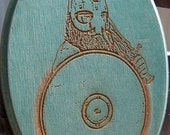 Laser engraved wooden plaque with image of a Viking