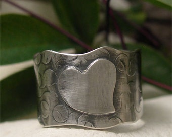 Extra Wide Band Ring, Organic Ring, Chunky Sterling Silver Ring Band, Silver Heart Ring, Rustic Textured Wavy Ring His/Hers Romantic Jewelry