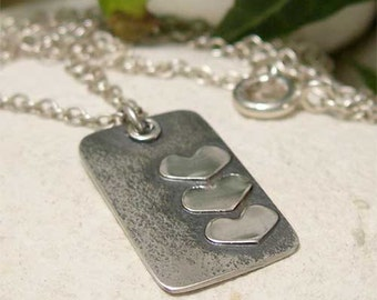 Rustic Silver Heart Necklace, 3 Heart Sterling Silver Pendant, Romantic Gift, Boho Silver Necklace, Oxidized Forged Silver Artisan Jewelry
