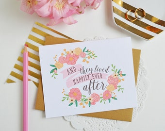 Happily Ever After, Engagement Celebrate, Congrats, Wedding, Bridal Illustration, Greeting Card, Congratulations on your engagement