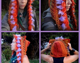 Custom Made Animal Hood. Crochet animal hood. Spirit hood. Animal ears hood. Crochet animal hat. Yarn, ribbon, lace, faux fur, trinkets.