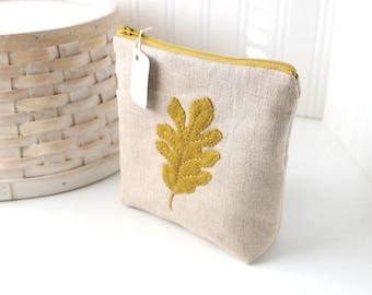 Autumn Oak Leaf Linen Zipper Pouch Medium Zipper Pouch Cute Zipper Bag Linen Pouch