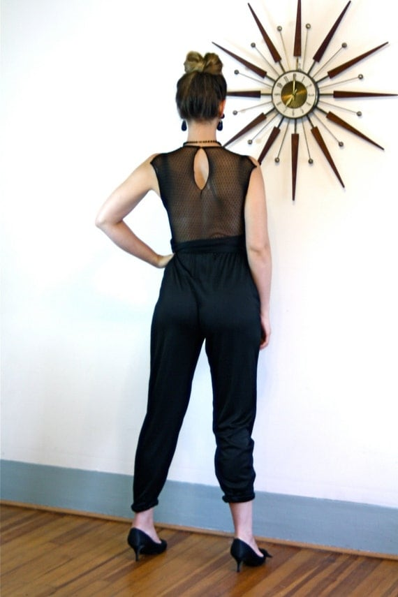 Vintage 80s Black Onepiece ROBERTA CALIFORNIA Sexy Slinky High Waisted Draped Romper Backless Mesh Sequin Cap Sleeve Keyhole 1980s Jumpsuit