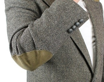 Elbow Patch Blazer 44R Vintage Gray Wool Tweed Professor Jacket Sports Coat Sz L Free US Shipping