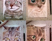 OOAK - custom portrait, close-up of cat face drawing, birthday gift, cat lover's gift, special day unique gift