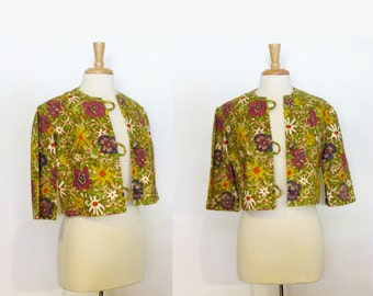 1950s Jacket / Vintage Yellow and Purple Floral Cropped Jacket