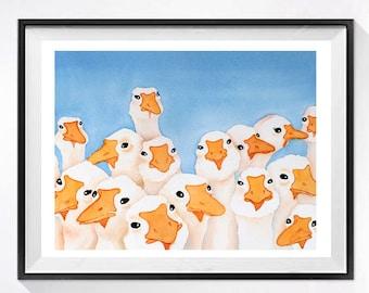 Farm Animal Art Prints | Bird illustrations Farm landscape Farmland Funny bird art Nursery wall art Gaggle of geese Goose poster A