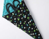 Scissors Holder, Double Pocket Carry Case, Black with Turquoise Floral
