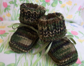 Camo Camouflage Baby booties crib shoes 0-12M READY TO SHIP