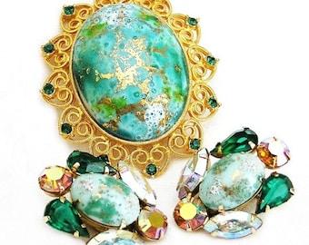 Aqua and Gold Splatter Stones in Filigree Setting Demi Parure